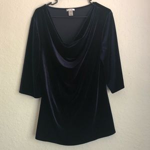 Cache Women's 3/4 Sleeve Cowl Neck Velvet Shirt XL